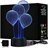 BIRTHDAY GIFT IDEAS 3D Night Light 7 Color LED Does Not Get Hot By rainbolights Ideal in a dark corner to create a WOW effect A Great Gift Idea INCLUDES MAINS PLUG and USB Cable