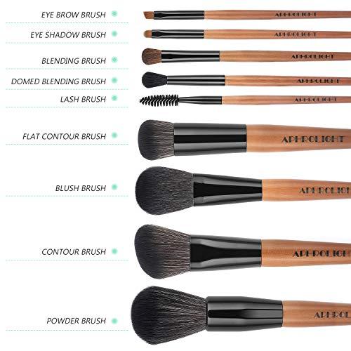 Professional Makeup Brushes 9pcs Premium Makeup Brush Set Vegan Cruelty Free Synthetic Bristles for Foundation Blending Face Powder Blush Contour Eyeshadow, Travel Leather Clutch