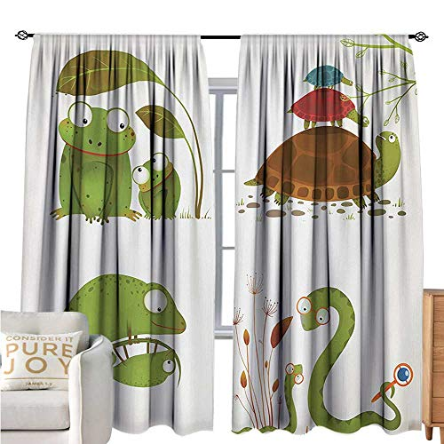 bybyhome ReptileBlackout Window CurtainReptile Family Colorful Baby Collection Snake Frog Ninja Turtles Love MotherDecor Curtains by W72 xL108 Green Brown Red
