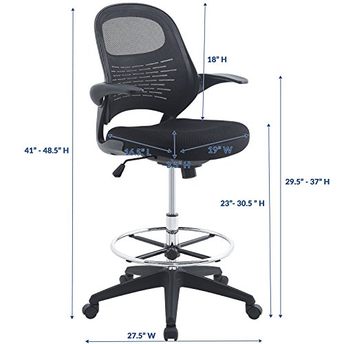 Modway Stealth Drafting Chair In Black Reception Desk Chair Tall
