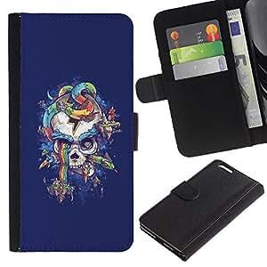 BearCase / Cuero de la tarjeta la carpeta del tirón Smartphone Slots Protección Holder /// Apple Iphone 6 PLUS 5.5 /// Cráneo púrpura de la serpiente del arco iris Colores