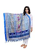 IndiWeaves Women Bhagalpuri/Tussar Silk Digital Print Blue Dupatta