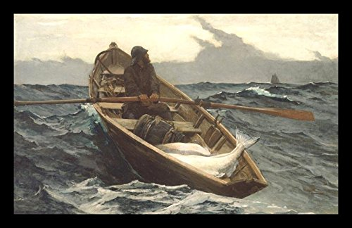 Buyartforless IF EMFA154 32.75x20.75 2 Black Plex Framed The Fog Warning by Winslow Homer 32.75X20.75 Museum Art Print Poster Fisherman in Rowboat with Storm Clouds & Stormy Seas by Buyartforless