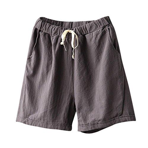 Women Shorts Clearance ,Farjing Women Summer Casual Cotton Linen Elastic Waist Summer Slim Short Pants(2XL,Gray) ()