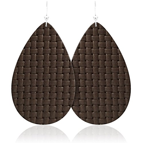 Brown Leather Teardrop Earrings, Basketweave Genuine Leather, Women's -