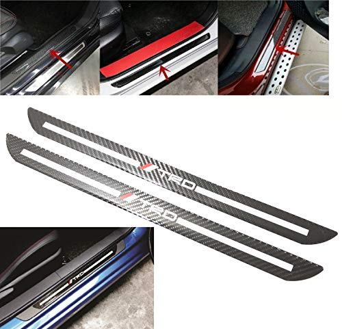 Car Scuff Plate Door Sill Cover Panel Step Protector Guard 48.5CM Carbon Fiber 2pc