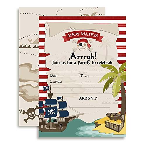Pirate Treasure Map Birthday Party Fill in Invitations set of 10 with (Pirate Invitations)