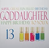 Product review for white cotton cards Handmade Super, Great, Fun Filled Birthday Lovely Goddaughter Happy Birthday To You 13 Neon Nail Varnishes 13th Birthday Card, White by WHITE COTTON CARDS