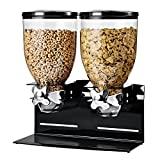 Honey-Can-Do Zevro KCH-06155 Pro-Edition Dry Food Dual Control Double Dispenser with Metal Countertop/Wall Mount, 17.5 oz, Black