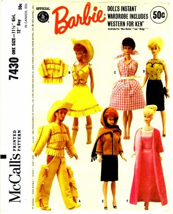 Amazon.com: McCall\'s 7430 Sewing Pattern Barbie & Ken Doll Western ...