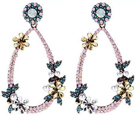 youjiu Decoracion Suerte Mopec Vintage Decorativas Pendientes De Flores Grandes con Incrustaciones De Diamantes. Moda Femenina De Múltiples Capas.