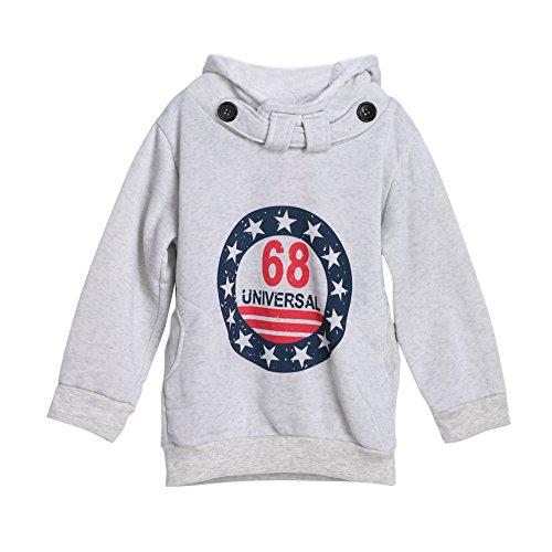 Diamondo Kids Children Boys Warm Wool Fleeces Coat Cotton Hoodie Tops Clothes (130, Grey) 130's Wool Suit