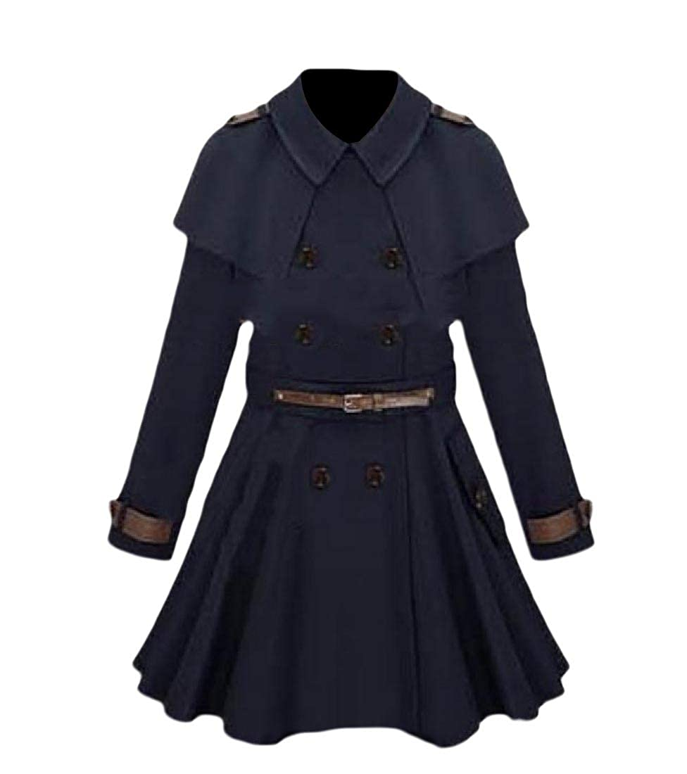 YUNY Women Fashion Tunic Poncho Coat Double-Breasted Mid-Long Wrap Coat Navy Blue XS