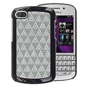 A-type Arte & diseño plástico duro Fundas Cover Cubre Hard Case Cover para BlackBerry Q10 (Polygon Pattern Grey White Minimalist)