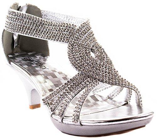 (Delicacy Shoes Women's Angel-37 Silver Kitten Heels Pumps 7 D(M) US )