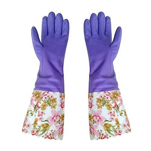 FireBee Rubber Cleaning Gloves Thick Waterproof Kitchen Dishwashing Gloves with Lining Household Latex Gloves (Purple Large,1 Pair)