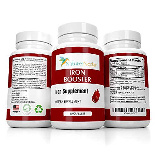 Iron Booster - Iron Supplement for Women - Helps Boost Red Blood Cell Production with Slow Release Non Constipating Ferrous Iron Pills for Women - Best Iron Supplements for Anemia - Raw Iron Vitamins