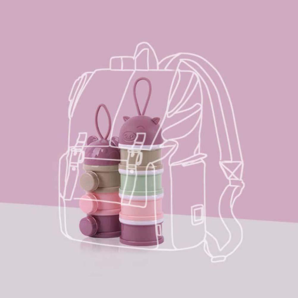 Toyvian Milchpulver Portionierer Schwein Design Milchpulver Dispenser Formula Beh/älter 4 Schichten Stapelbar Gr/ün