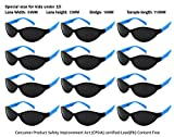 Edge I-Wear 12 Pack Neon Party Sunglasses with UV 400 Lens (Made in Taiwan) (Kid-Sport-Blue, Black)