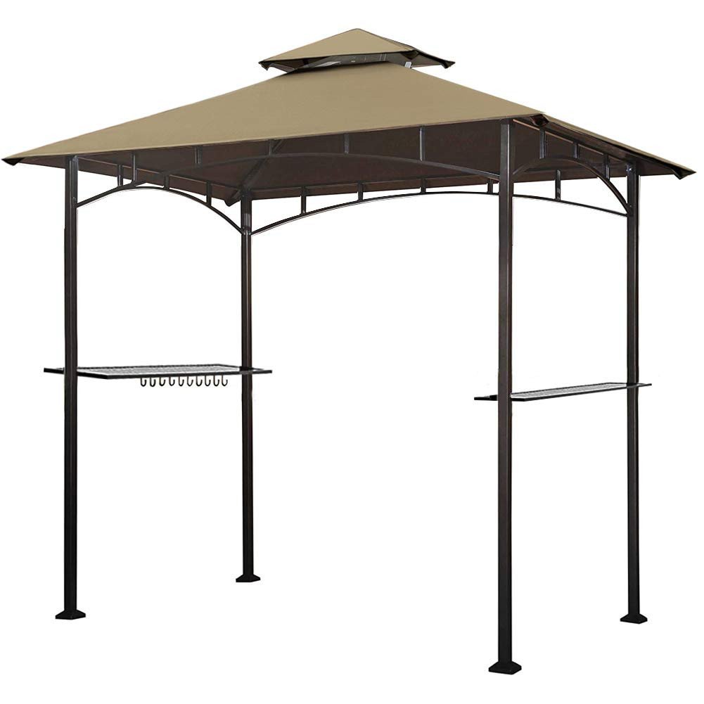Keymaya 8 x5 Grill Gazebo Shelter for Patio and Outdoor Living BBQ Shelter Tent, Double Tier Soft Top Canopy and Steel Frame with Bar Counters, Bonus LED Light Khaki