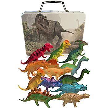 3 Bees & Me Dinosaur Toys for Boys and Ladies with Storage Field – 12 Massive 6 Inch Toy Dinosaurs & Case – Reward for Children Age 3 to eight