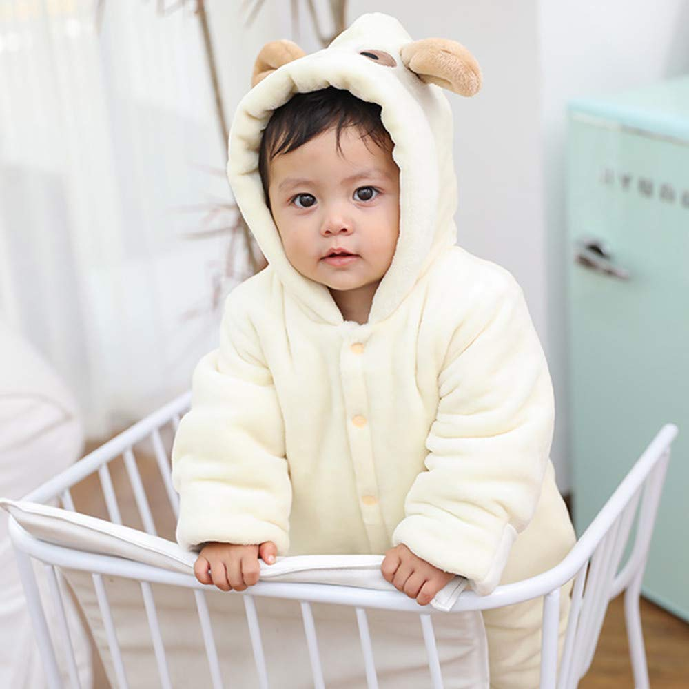 Onefa Infant Baby Girls/&Boys Jumpsuit Long Sleeve Fluffy Hooded Romper Outfits Clothes