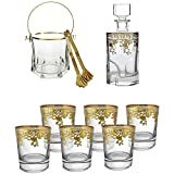 Liquor Decanter Bar Gift Set Glass Whiskey Decanter with Airtight Stopper, Double Old Fashioned Whiskey Glass (Set of 6) Heavy Base Barware Glasses and Italian Ice Bucket 14k Rim with Tongs, Glass