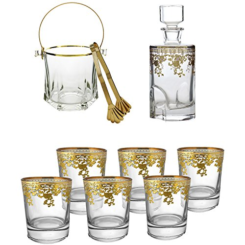 Liquor Decanter Bar Gift Set Glass Whiskey Decanter with Airtight Stopper, Double Old Fashioned Whiskey Glass (Set of 6) Heavy Base Barware Glasses and Italian Ice Bucket 14k Rim with Tongs, Glass by Wine Bodies