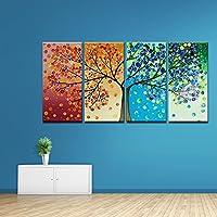 ZEMER 4 Estaciones Colorido Suerte Árbol Pintura CuadrosEnLienzo Lona Arte De Pared Pintura Al Óleo Contemporánea Giclee para Decoración De Sala Estar,50X70cmx4pcs