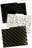 Renewing Minds Glimmer of Gold File Folders, Letter Size, 1/3 Cut Tab, Assorted Designs in Black/Gold/White, Pack of 12