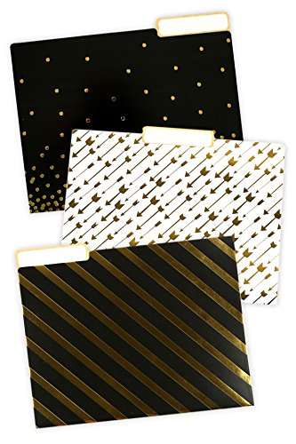 - Renewing Minds Glimmer of Gold File Folders, Letter Size, 1/3 Cut Tab, Assorted Designs in Black/Gold/White, Pack of 12