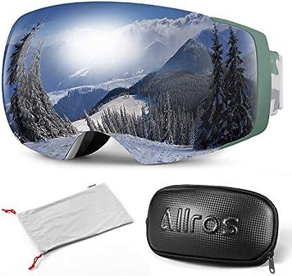 ALLROS Gafas de Esquí con Lente Magnética sin Marco, Máscara de ...
