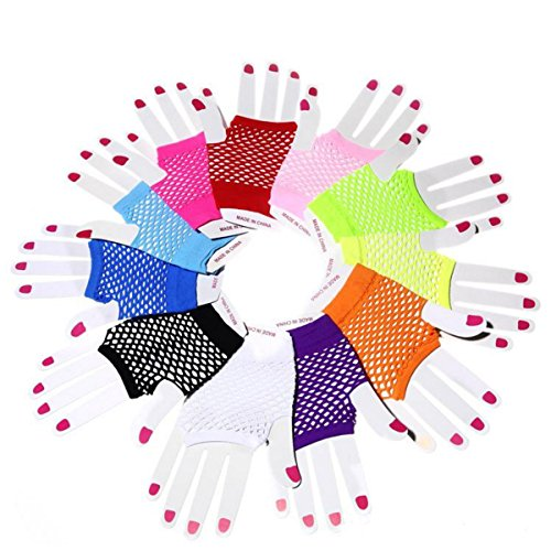 6 Pairs Neon Gloves Fingerless Diva Fishnet Wrist Gloves Assorted Neon Colors, Retro Rock Pop Star Disco Dress-Up Party Pack Supply Set