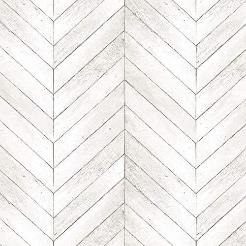 Norwall G68000 Chevron Wood Wallpaper Neutral, Light Taupe, Ivory, Beige ()