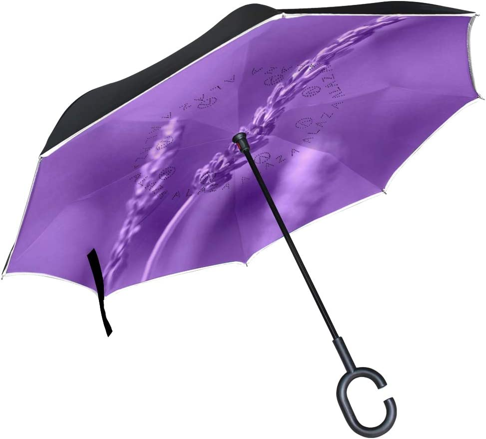 Inverted Umbrella with Purple Lavender Flower Print Car Reverse Folding Umbrella