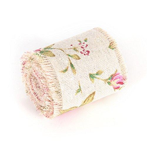 (Flower Burlap Roll - 1 Piece 2 Meter 5cm Jute Burlap Rolls Ribbon Rose Cloth with Trims Tape Wedding Party Decoration Burlap Flower)