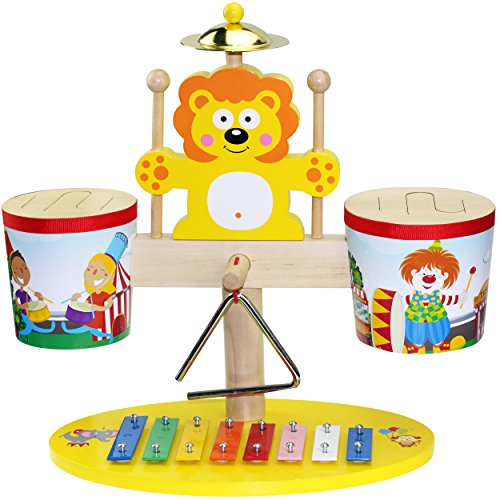First Note Little Circus 4 in 1 Kids Musical Wooden Drum Set - Drum, Cymbal, Xylophone and a Triangle Idiophone, with 2 Easy Grip Drumsticks