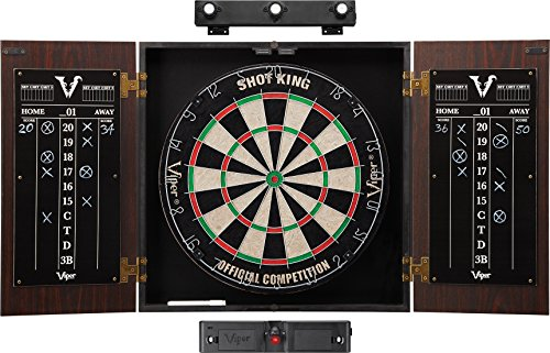 Viper Stadium Cabinet & Shot King Sisal/Bristle Dartboard Ready-to-Play Bundle: Elite Set (Shot King Dartboard, Darts, Shadow Buster and Laser Throw Line) ()