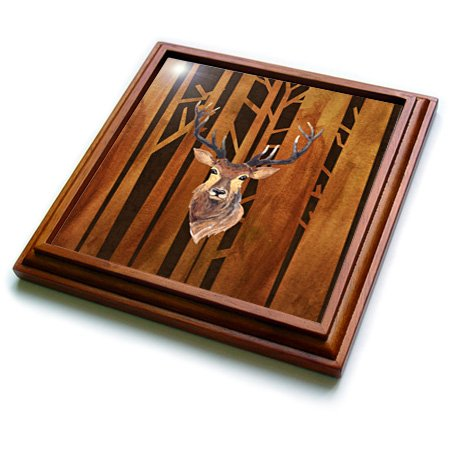 3dRose trv_252339_1''Deer Antler Animals Wild Forest Tree Nature Wood Illustration Trivet with Tile, 8'' x 8''