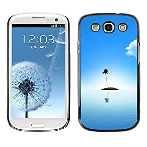 Paccase / SLIM PC / Aliminium Casa Carcasa Funda Case Cover para - Popular Palm Tree Lonely Island Ocean Sea Light Blue - Samsung Galaxy S3 I9300