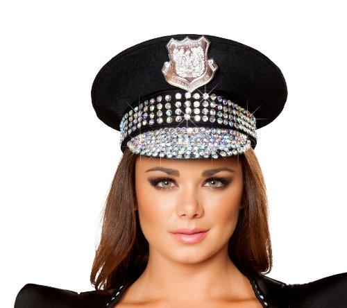 Os Club Roma Halloween (Roma Costume Studded Police Hat Costume, Black/Rhinestone, One)