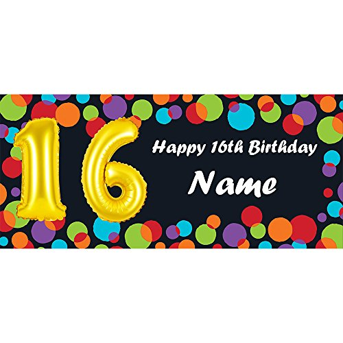 BALLOON 16TH BIRTHDAY CUSTOMIZED BANNER (EACH) customized by