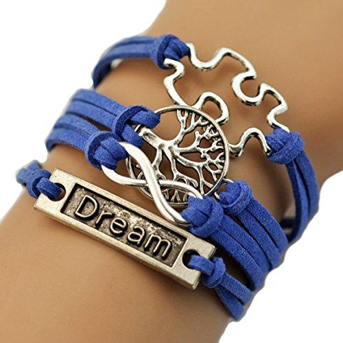 HUMASOL Retro Infinite Bracelet Leather Knit Rope Bracelet Gift