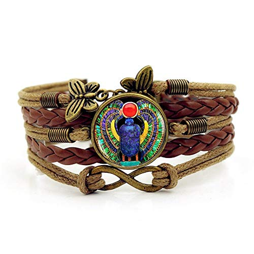 YUANOMSL Woven Bracelet,Brown Rope Egyptian Scarab Beetle Animal,Time Gemstone Bracelet Multi-Layer Hand-Woven Glass Combination Jewelry Ladies Fashion European and American Style Jewelry