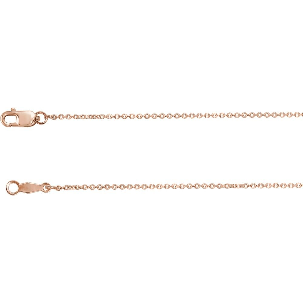 14K Rose Gold 1mm Solid Cable 20 Chain