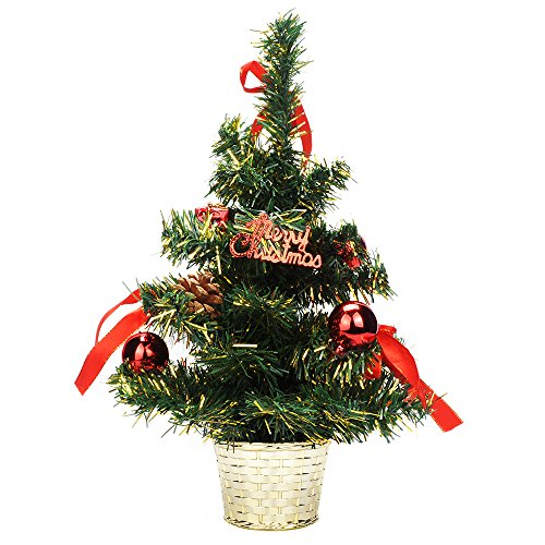 TIOVERY Tabletop Christmas Tree, 18 Inch Mini Small Christmas Pine Tree with Decorated Red Balls Baubles Ornaments and Golden Metal Bowl