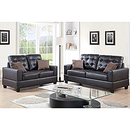Amazon.com: Contemporary Faux Leather 2-Piece Sofa and ...