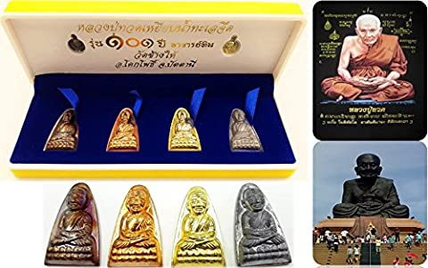 [Limited Edition Buddha] Original box set 101 Yrs 6 Pcs Gold Silver Bronze Lp' Tuad Wat Chang Hai Temple Thailand Genuine Thai Amulet with amulet necklace & special - Roberto Coin Elephant Jewelry Set