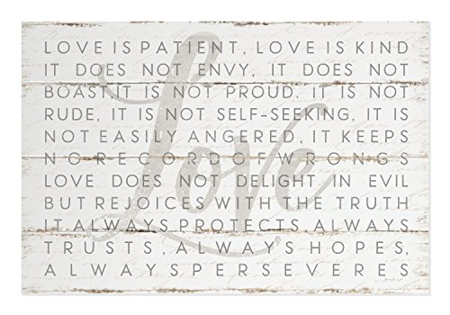 Love is Patient Love is Kind 1 Corinthians Rustic Wood Style Wall Sign 12x18 ()