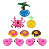 10 Pack Inflatable Drink Holder-Fruit Flamingo Doughnut Palm trees Crab Inflatable Pool Cup Holders Coasters Supply for Pool Party Water Fun
